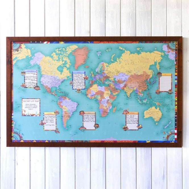 Personalised World Bucket List Wall Map