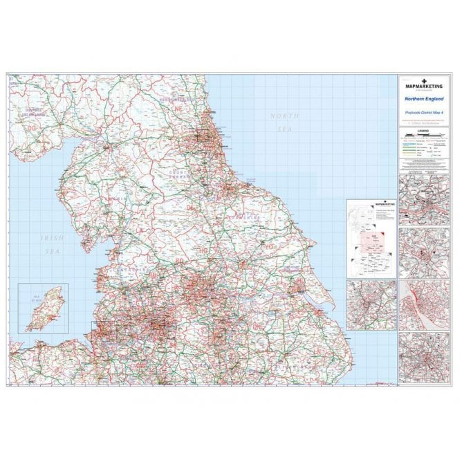 Map Of Northern Uk.Postcode District 04 Wall Map Framed Magnetic Northern England