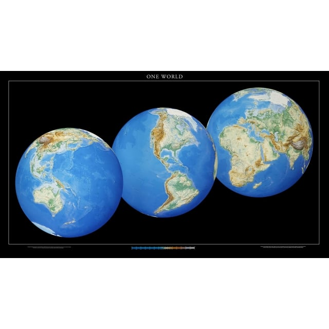 Three globes view physical world paper wall map world from maps three globes view physical world paper wall map gumiabroncs Image collections