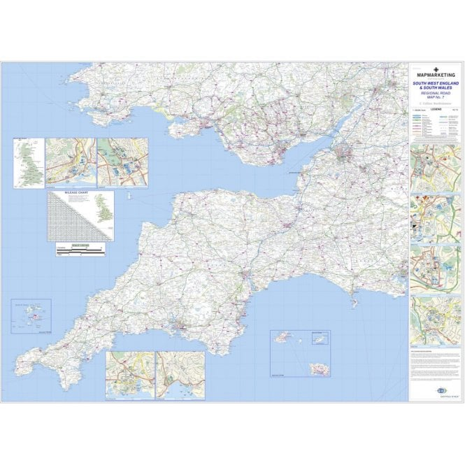 Regional Road Wall Map 7: South West England & South Wales