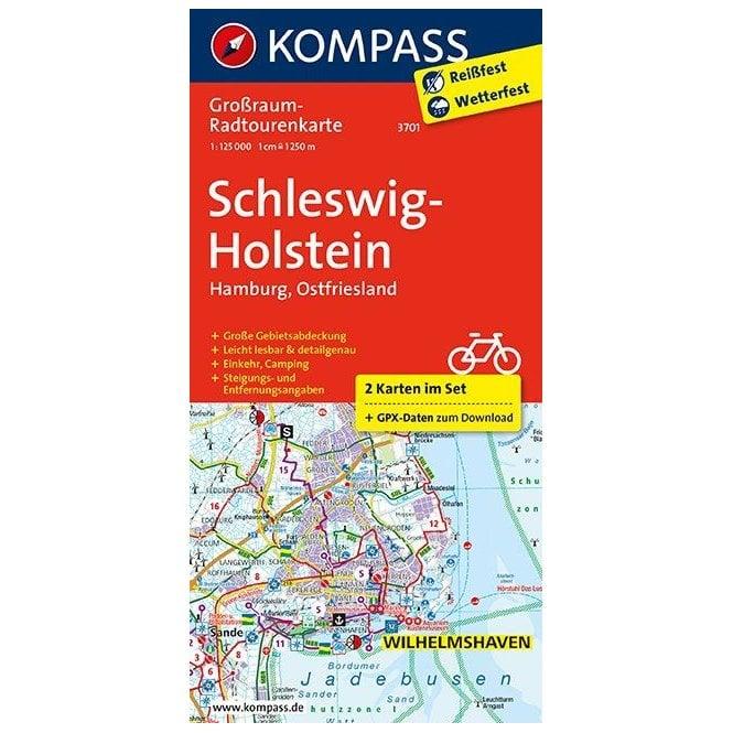 Schleswig Holstein Hamburg Ostfriesland Kompass Cycle Tour Map