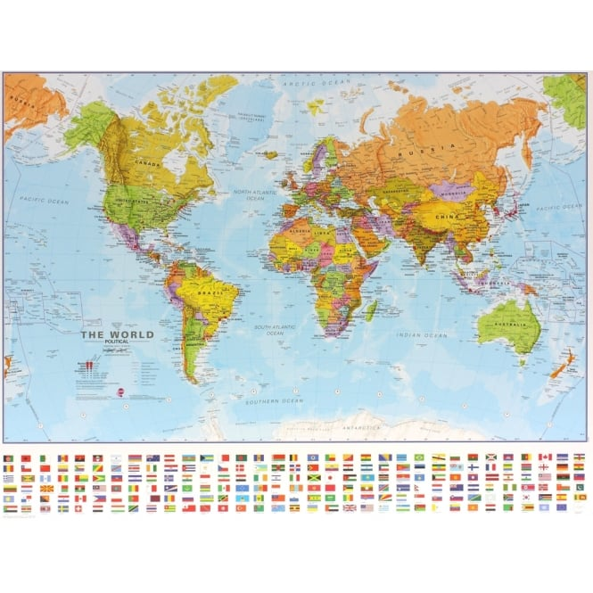 Small World Wall Map With Flags 1 60million Scale Paper Or
