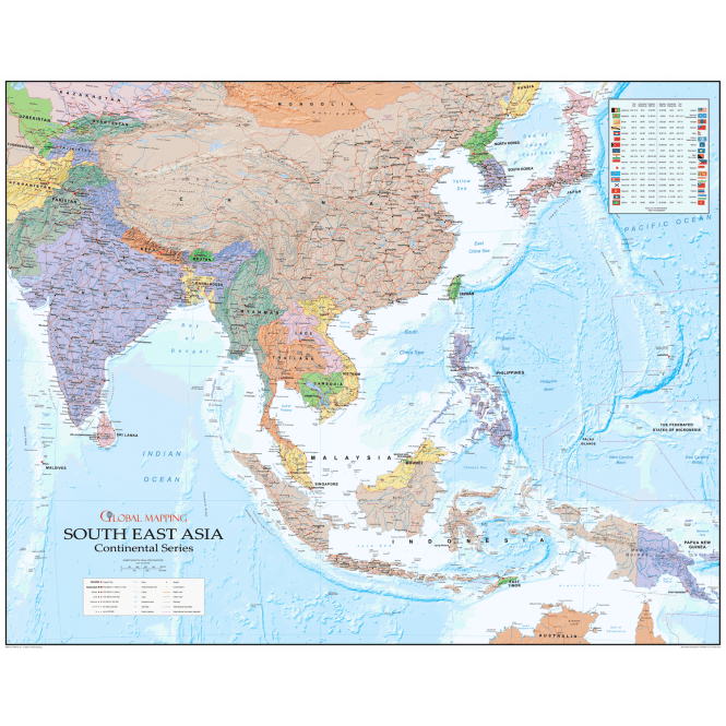 Map Of Asia Time Zones.South East Asia Political Laminated Wall Map