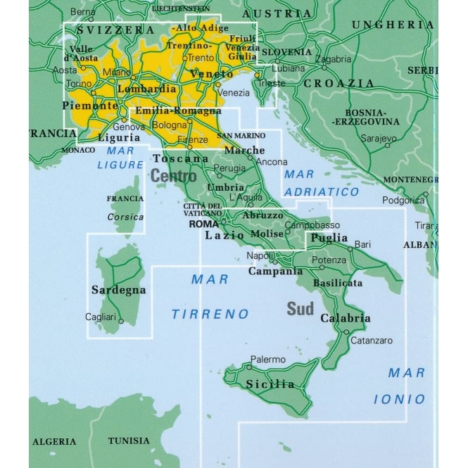 Road Map Of Northern Italy.Italy Road Atlas Northern 2018