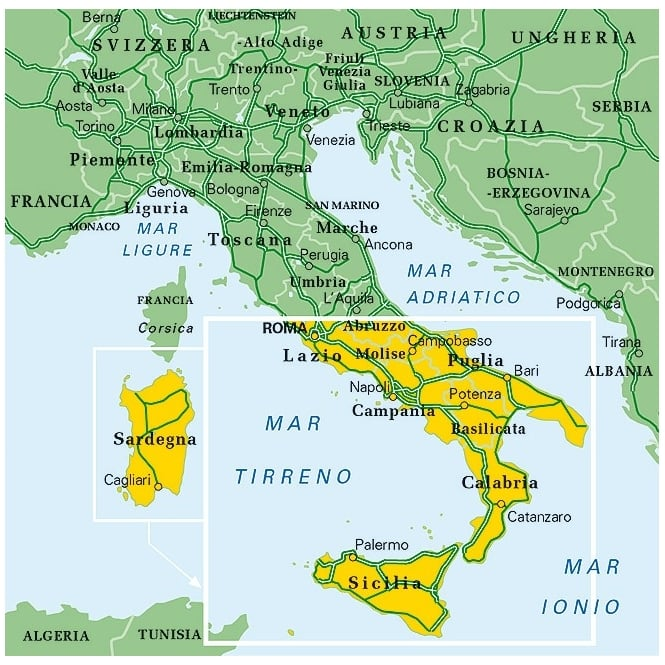 Map Of South Italy.Tci Italy Central South Regional Map