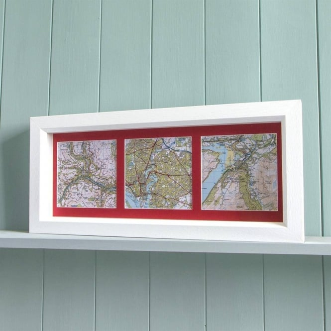 Trio of Personalised Framed Map Squares