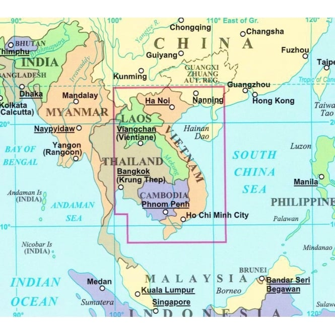 Vietnam Laos And Cambodia Geographical Map