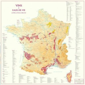 Wines and Spirits of France Paper Wall Map 9901