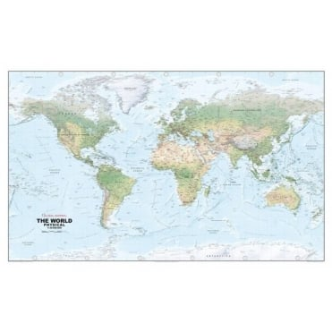 World Physical Laminated Wall Map: 1:30 Million