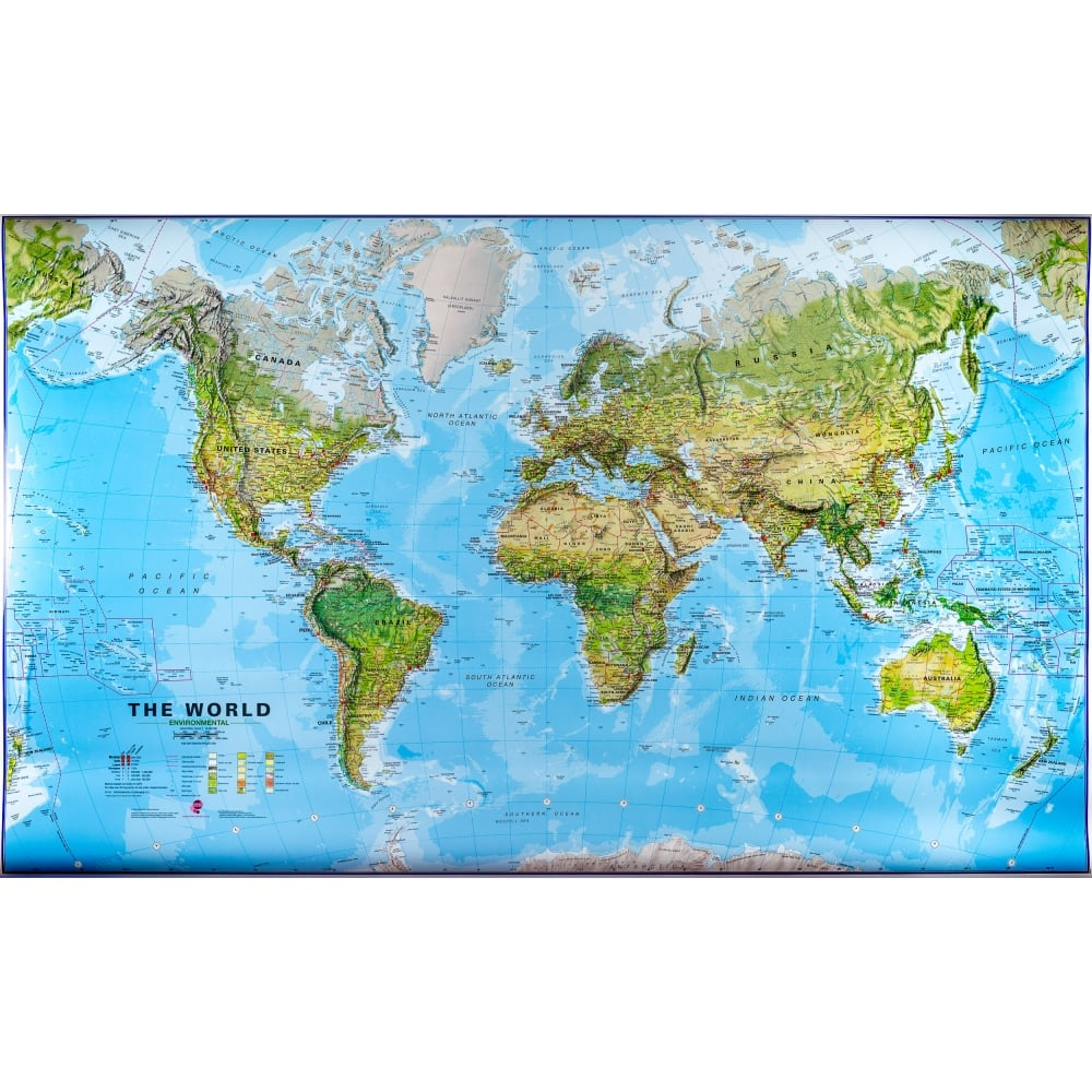 World Physical Terrain Wall Map 1 30 Million Laminated With Hanging