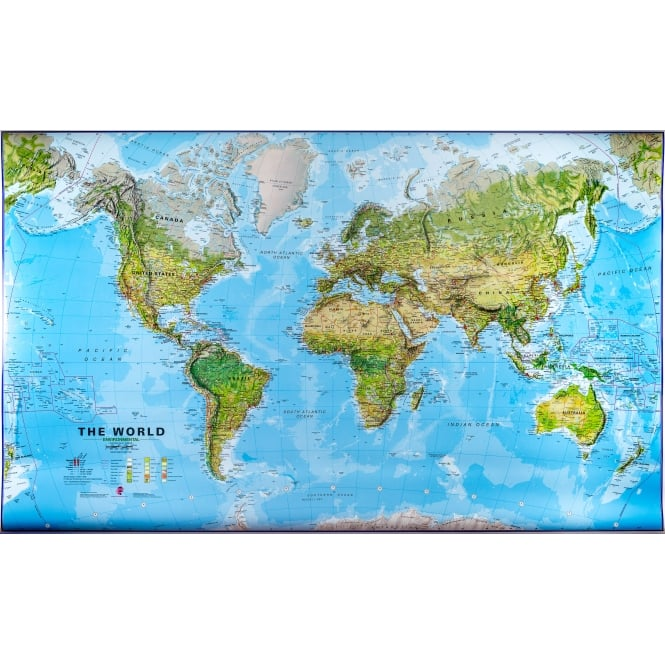 World Physical Terrain Wall Map 1:30 Million Laminated With Hanging on