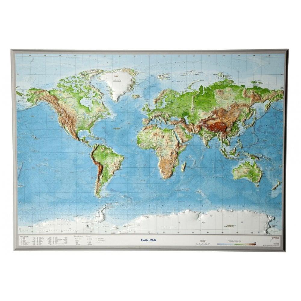 World 3D Relief Wall Map (unframed